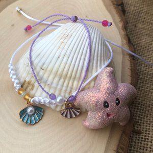 Seashell Pearl braided Mommy & Me bracelet set